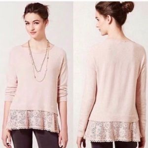 Anthro Knitted&Knotted lace trim sweater Sz M